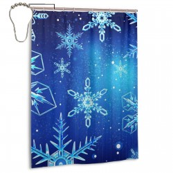 Beautiful Snowflakes Art Pattern Shower Curtain , Shower Bathroom Curtain 55x72 Inch Waterproof Fabric with Hooks , Wildly used in bathroom and hotel etc.
