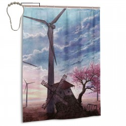 Beautiful Painting With Old Windmills Shower Curtain , Shower Bathroom Curtain 55x72 Inch Waterproof Fabric with Hooks , Wildly used in bathroom and hotel etc.