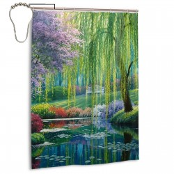 Beautiful Outdoor Scenes Paintings Shower Curtain , Shower Bathroom Curtain 55x72 Inch Waterproof Fabric with Hooks , Wildly used in bathroom and hotel etc.