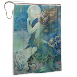 Beautiful Mermaid Shower Curtain , Shower Bathroom Curtain 55x72 Inch Waterproof Fabric with Hooks , Wildly used in bathroom and hotel etc.