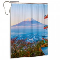 Beautiful Landscape Of Mountain Fuji Shower Curtain , Shower Bathroom Curtain 55x72 Inch Waterproof Fabric with Hooks , Wildly used in bathroom and hotel etc.