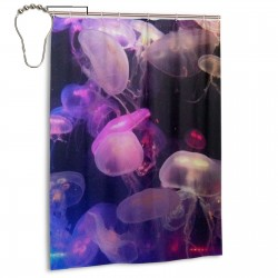 Beautiful Jellyfish Purple Shower Curtain , Shower Bathroom Curtain 55x72 Inch Waterproof Fabric with Hooks , Wildly used in bathroom and hotel etc.