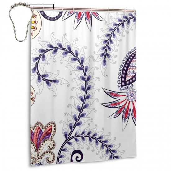 Beautiful Flowers Shower Curtain , Shower Bathroom Curtain 55x72 Inch Waterproof Fabric with Hooks , Wildly used in bathroom and hotel etc.