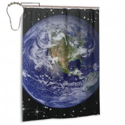 Beautiful Earth Shower Curtain , Shower Bathroom Curtain 55x72 Inch Waterproof Fabric with Hooks , Wildly used in bathroom and hotel etc.