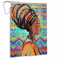 Beautiful African Woman With Earring Shower Curtain , Shower Bathroom Curtain 55x72 Inch Waterproof Fabric with Hooks , Wildly used in bathroom and hotel etc.