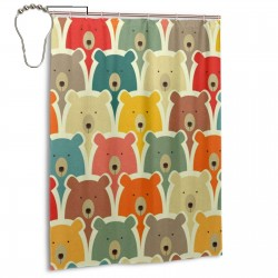 Bears Shower Curtain , Shower Bathroom Curtain 55x72 Inch Waterproof Fabric with Hooks , Wildly used in bathroom and hotel etc.