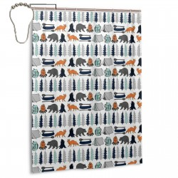 Bear Camping Shower Curtain , Shower Bathroom Curtain 55x72 Inch Waterproof Fabric with Hooks , Wildly used in bathroom and hotel etc.