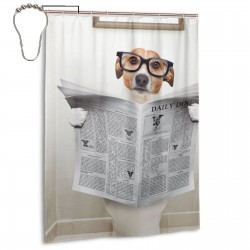 Beagle Read The Newspaper Shower Curtain , Shower Bathroom Curtain 55x72 Inch Waterproof Fabric with Hooks , Wildly used in bathroom and hotel etc.