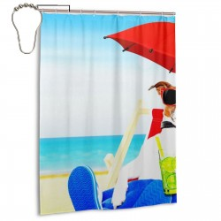 Beagle Beach Holiday Shower Curtain , Shower Bathroom Curtain 55x72 Inch Waterproof Fabric with Hooks , Wildly used in bathroom and hotel etc.