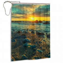 Beach Under Setting Sun Shower Curtain , Shower Bathroom Curtain 55x72 Inch Waterproof Fabric with Hooks , Wildly used in bathroom and hotel etc.