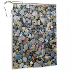 Beach Stones Shower Curtain , Shower Bathroom Curtain 55x72 Inch Waterproof Fabric with Hooks , Wildly used in bathroom and hotel etc.