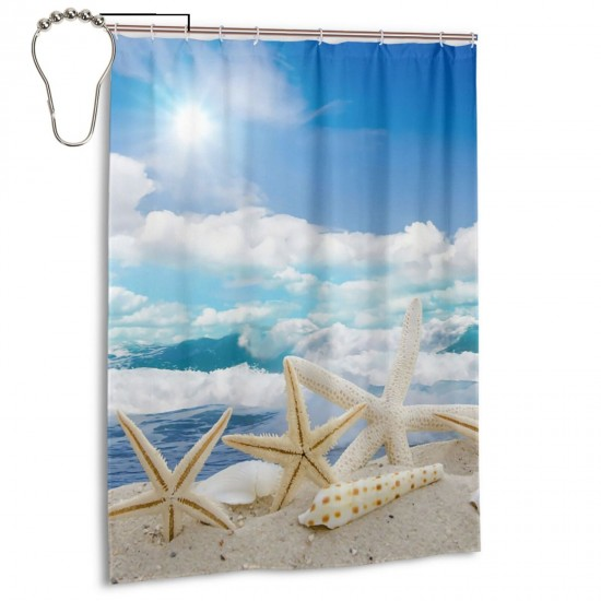 Beach Starfish Shower Curtain , Shower Bathroom Curtain 55x72 Inch Waterproof Fabric with Hooks , Wildly used in bathroom and hotel etc.