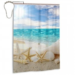 Beach Seascape Shower Curtain , Shower Bathroom Curtain 55x72 Inch Waterproof Fabric with Hooks , Wildly used in bathroom and hotel etc.