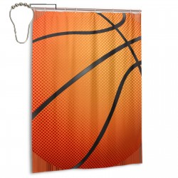 Basketball Print Shower Curtain , Shower Bathroom Curtain 55x72 Inch Waterproof Fabric with Hooks , Wildly used in bathroom and hotel etc.