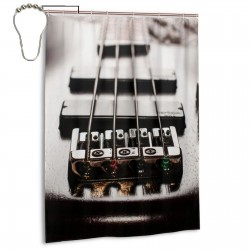 Bass Electric Guitar Music Vintage Shower Curtain , Shower Bathroom Curtain 55x72 Inch Waterproof Fabric with Hooks , Wildly used in bathroom and hotel etc.