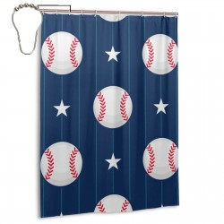 Baseball Sport Seamless Pattern Shower Curtain , Shower Bathroom Curtain 55x72 Inch Waterproof Fabric with Hooks , Wildly used in bathroom and hotel etc.