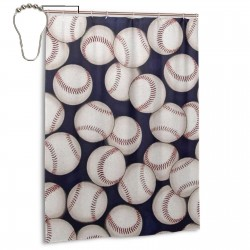 Baseball Retro Pattern Shower Curtain , Shower Bathroom Curtain 55x72 Inch Waterproof Fabric with Hooks , Wildly used in bathroom and hotel etc.