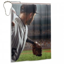Baseball Player Throws The Ball Shower Curtain , Shower Bathroom Curtain 55x72 Inch Waterproof Fabric with Hooks , Wildly used in bathroom and hotel etc.