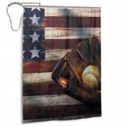 Baseball Never Stop Design Shower Curtain , Shower Bathroom Curtain 55x72 Inch Waterproof Fabric with Hooks , Wildly used in bathroom and hotel etc.