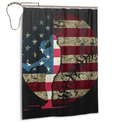 Baseball America Shower Curtain , Shower Bathroom Curtain 55x72 Inch Waterproof Fabric with Hooks , Wildly used in bathroom and hotel etc.