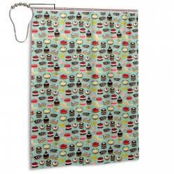 Bakery Patisserie Mint Food Shower Curtain , Shower Bathroom Curtain 55x72 Inch Waterproof Fabric with Hooks , Wildly used in bathroom and hotel etc.