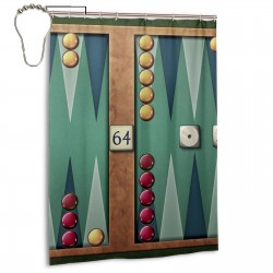 Backgammon Shower Curtain , Shower Bathroom Curtain 55x72 Inch Waterproof Fabric with Hooks , Wildly used in bathroom and hotel etc.
