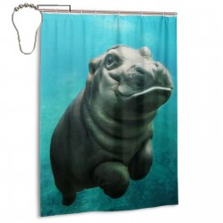 Baby Hippo Shower Curtain , Shower Bathroom Curtain 55x72 Inch Waterproof Fabric with Hooks , Wildly used in bathroom and hotel etc.