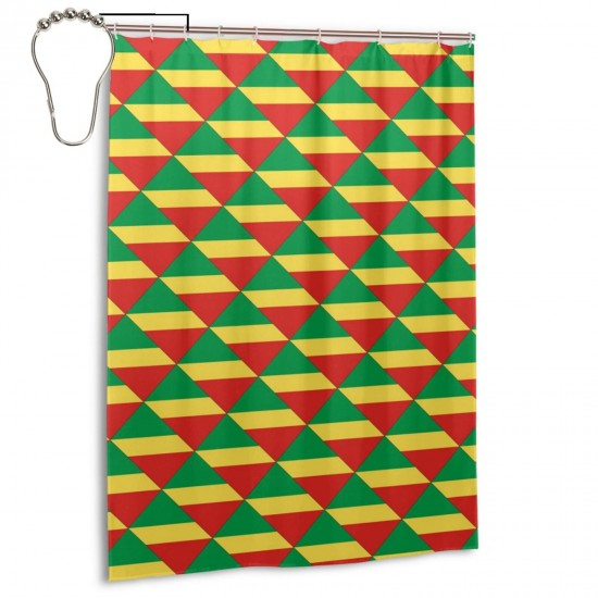 Republic Of The Congo Shower Curtain , Shower Bathroom Curtain 55x72 Inch Waterproof Fabric with Hooks , Wildly used in bathroom and hotel etc.