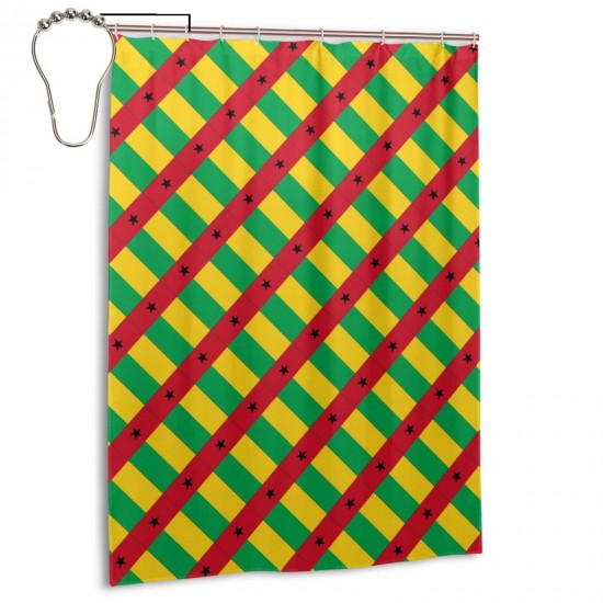Guinea-bissau Shower Curtain , Shower Bathroom Curtain 55x72 Inch Waterproof Fabric with Hooks , Wildly used in bathroom and hotel etc.