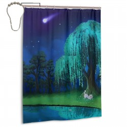 Willow Tree Shower Curtain , Shower Bathroom Curtain 55x72 Inch Waterproof Fabric with Hooks , Wildly used in bathroom and hotel etc.