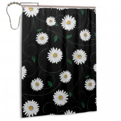 White Daisies Shower Curtain , Shower Bathroom Curtain 55x72 Inch Waterproof Fabric with Hooks , Wildly used in bathroom and hotel etc.