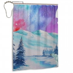 Vaecon Polar Nights Shower Curtain , Shower Bathroom Curtain 55x72 Inch Waterproof Fabric with Hooks , Wildly used in bathroom and hotel etc.