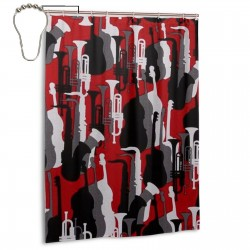 Trumpet And Saxophone Shower Curtain , Shower Bathroom Curtain 55x72 Inch Waterproof Fabric with Hooks , Wildly used in bathroom and hotel etc.