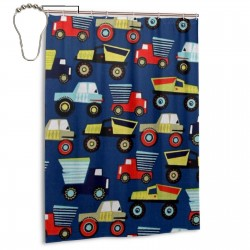 Toy Car Shower Curtain , Shower Bathroom Curtain 55x72 Inch Waterproof Fabric with Hooks , Wildly used in bathroom and hotel etc.