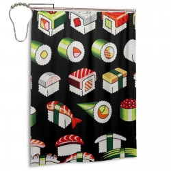 Sushi Japanese Shower Curtain , Shower Bathroom Curtain 55x72 Inch Waterproof Fabric with Hooks , Wildly used in bathroom and hotel etc.