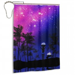 Summer Nights Shower Curtain , Shower Bathroom Curtain 55x72 Inch Waterproof Fabric with Hooks , Wildly used in bathroom and hotel etc.