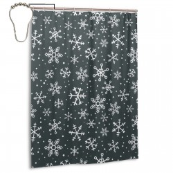 Snow Flake Metalic Shower Curtain , Shower Bathroom Curtain 55x72 Inch Waterproof Fabric with Hooks , Wildly used in bathroom and hotel etc.