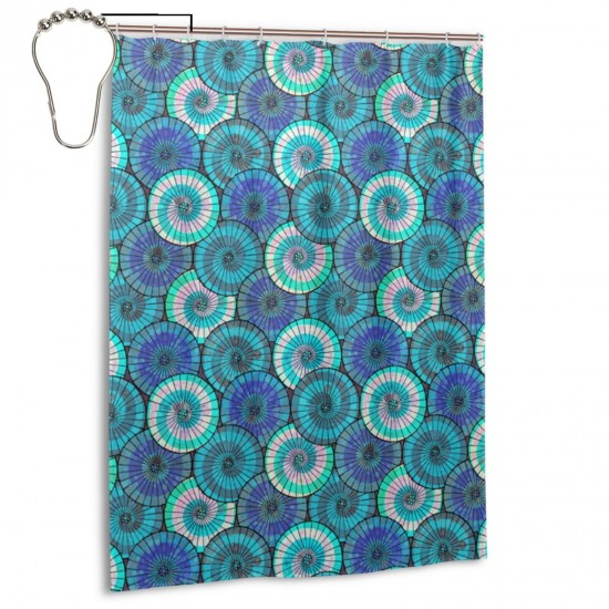 Blue Tissue Parasols Shower Curtain , Shower Bathroom Curtain 55x72 Inch Waterproof Fabric with Hooks , Wildly used in bathroom and hotel etc.