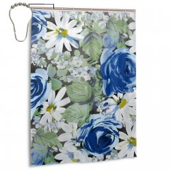 Blue Roses Shower Curtain , Shower Bathroom Curtain 55x72 Inch Waterproof Fabric with Hooks , Wildly used in bathroom and hotel etc.