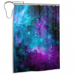 Blue Purple Nebula Shower Curtain , Shower Bathroom Curtain 55x72 Inch Waterproof Fabric with Hooks , Wildly used in bathroom and hotel etc.