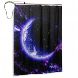 Blue Planet Galaxy Pattern Shower Curtain , Shower Bathroom Curtain 55x72 Inch Waterproof Fabric with Hooks , Wildly used in bathroom and hotel etc.