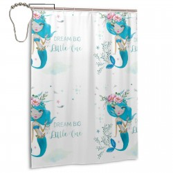 Blue Mermaid - Dream Shower Curtain , Shower Bathroom Curtain 55x72 Inch Waterproof Fabric with Hooks , Wildly used in bathroom and hotel etc.