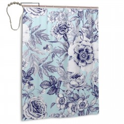 Blue Flower Shower Curtain , Shower Bathroom Curtain 55x72 Inch Waterproof Fabric with Hooks , Wildly used in bathroom and hotel etc.