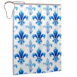Blue Fleur De Lis Shower Curtain , Shower Bathroom Curtain 55x72 Inch Waterproof Fabric with Hooks , Wildly used in bathroom and hotel etc.