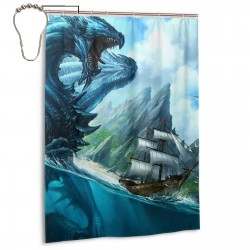 Blue Dragon Shower Curtain , Shower Bathroom Curtain 55x72 Inch Waterproof Fabric with Hooks , Wildly used in bathroom and hotel etc.