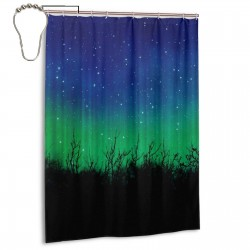 Blue Dark Night Sky With Many Stars Print Shower Curtain , Shower Bathroom Curtain 55x72 Inch Waterproof Fabric with Hooks , Wildly used in bathroom and hotel etc.