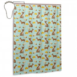 Blue Chihuahua Taco Shower Curtain , Shower Bathroom Curtain 55x72 Inch Waterproof Fabric with Hooks , Wildly used in bathroom and hotel etc.