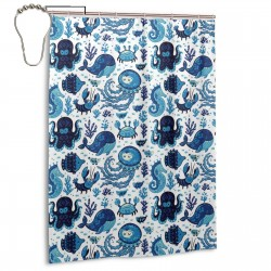 Blue And White Nautical Shower Curtain , Shower Bathroom Curtain 55x72 Inch Waterproof Fabric with Hooks , Wildly used in bathroom and hotel etc.