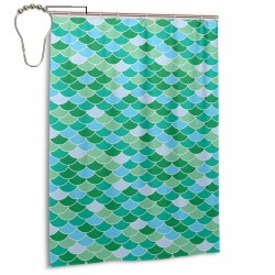 Blue And Green Mermaid Scales Shower Curtain , Shower Bathroom Curtain 55x72 Inch Waterproof Fabric with Hooks , Wildly used in bathroom and hotel etc.