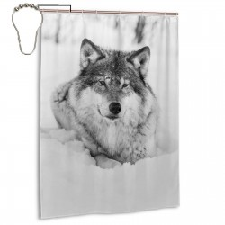 Black Winter Snow Wolf Shower Curtain , Shower Bathroom Curtain 55x72 Inch Waterproof Fabric with Hooks , Wildly used in bathroom and hotel etc.